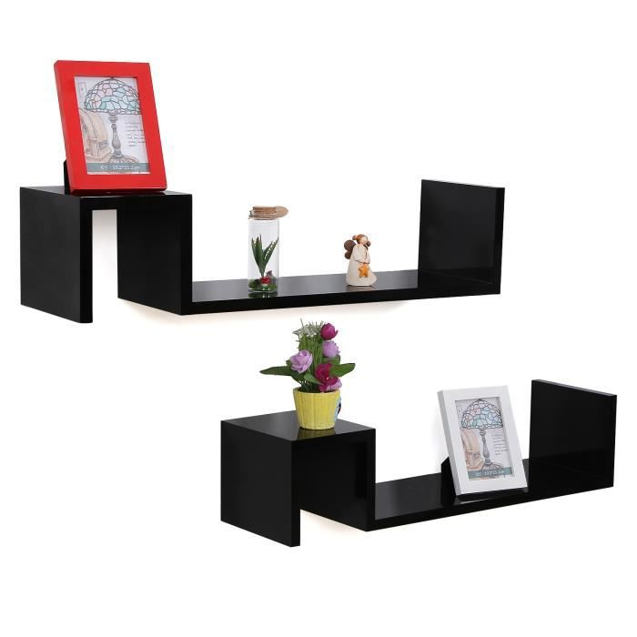 songmics lot de 2 tag res murales nior avec style r tro. Black Bedroom Furniture Sets. Home Design Ideas