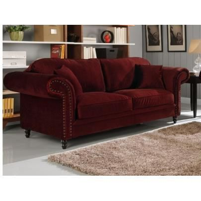 canap 3 places en velours elisabeth bordeaux achat vente canap sofa divan soldes. Black Bedroom Furniture Sets. Home Design Ideas