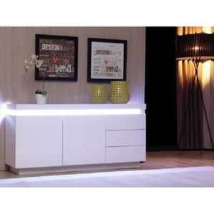 bahut laque blanc avec led achat vente bahut laque blanc avec led pas cher cdiscount. Black Bedroom Furniture Sets. Home Design Ideas
