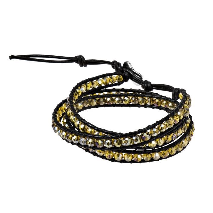 Womens Yellow Muse Fashion Crystal-cotton Wax Rope-leather With Base Metal Clasp Tribal Wrap Brace Q3UHO