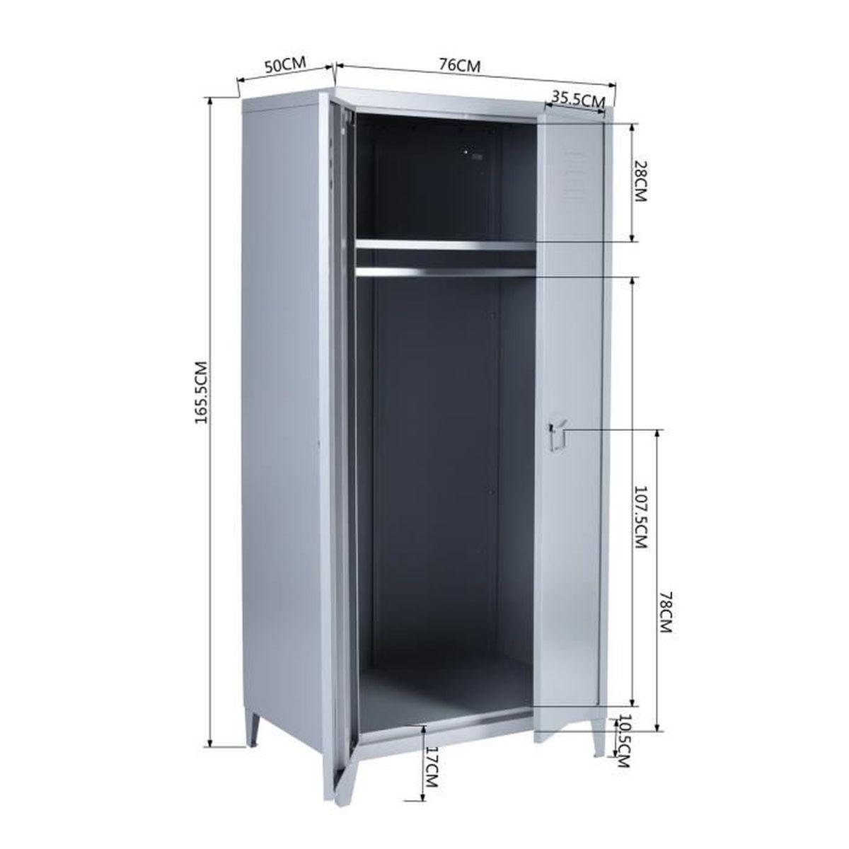 Meuble Dressing Pas Cher dressing 2 portes en métal, meuble range-balai armoire