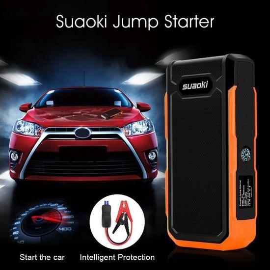 SUAOKI 800A Peak 20000mAh Booster Batterie Jump Starter Voiture avec Pinces Alligator intelligents Booster de D/émarrage Rechargeable et chargeur avec LED Flashlight Orange