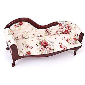 1:12 maison de poupée miniature de haute qualité coussin chaise acajou avec fleurs