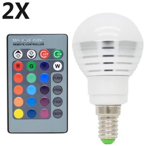 AMPOULE - LED 2X E14 RGB Ampoules LED Multicolore 3W RGB LED 16
