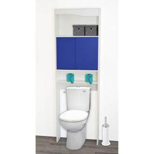 ARMOIRE DE TOILETTE Meuble WC bleu en bois avec 2 portes coulissantes,