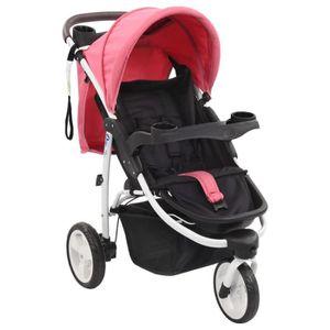 POUSSETTE  Poussette bébé à 3 roues Rose et noir