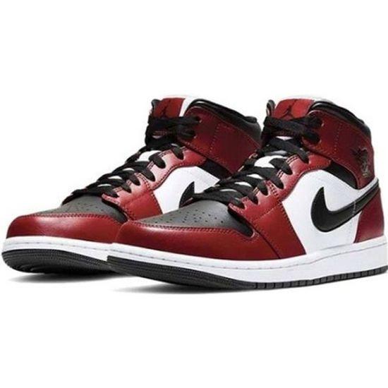 Basket Nike Air Jordan 1 Mid Gym Red Chaussure de Sport AJ 1 Pas Cher pour 554724-069 Homme Femme