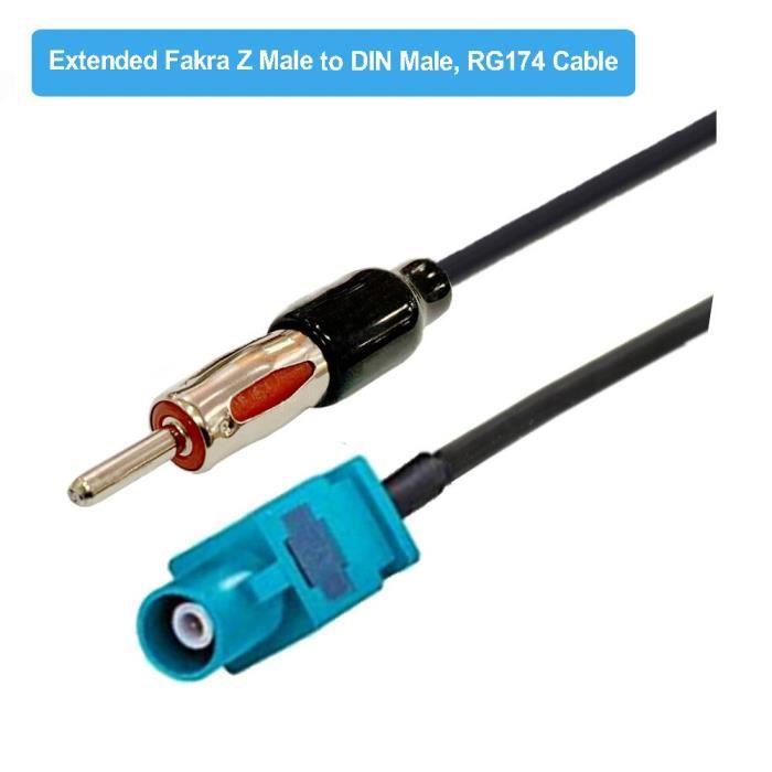 Adaptateur d'antenne pour autoradio Fakra Z femelle vers Din femelle, câble de connexion RG174 15CM 20CM 50CM [23448D0]