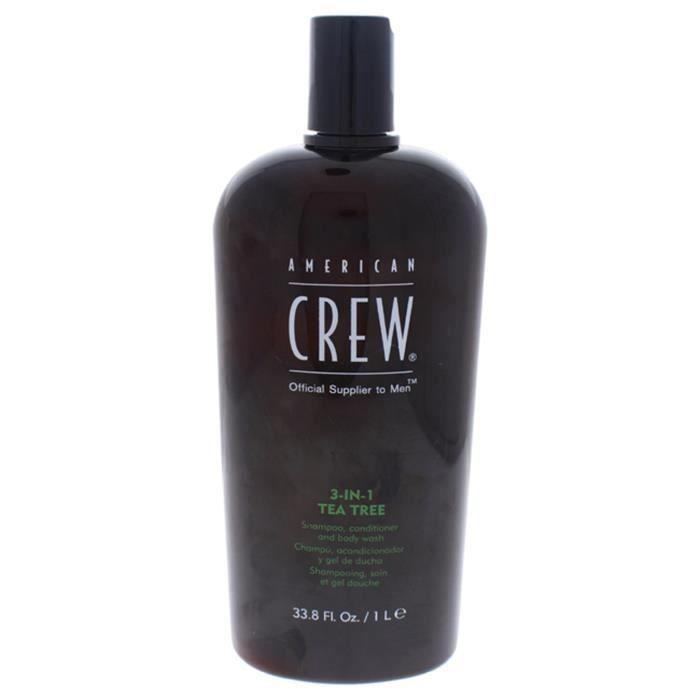 Shampooing, revitalisant et nettoyant pour le corps 3-en-1 à l'arbre à thé par American Crew pour hommes-33.8 oz de Shampooing, revi