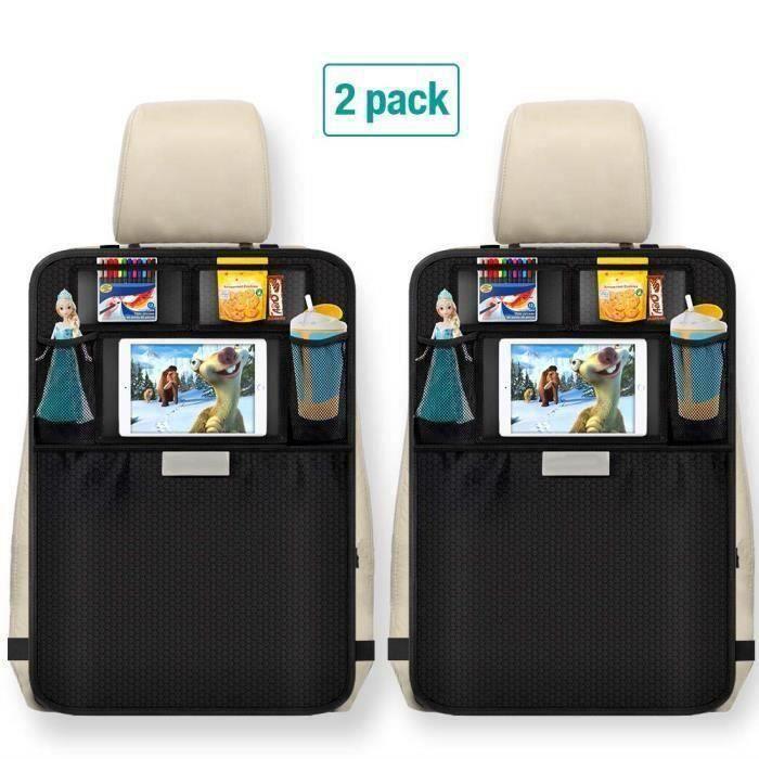 2Pcs Protège Siège Voiture, Imperméable Organisateurs de Voiture Kick Mats,Protection Arrière de Siège Auto Support iPad