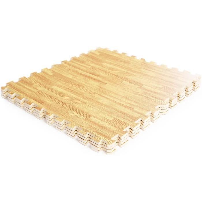 DREAMADE Tapis de Protection de Sol Tapis de Puzzle de Sports 12 Dalles Grain de Bois sans Goût et Non-Toxique Couleur du Bois