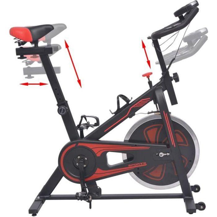 KAI Vélo d'appartement avec capteurs de pouls Noir et rouge
