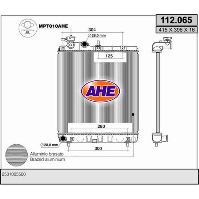 Refroidisseur d'air HYUNDAI Atos 1.1 i 12V de 2005 et suivants -112065