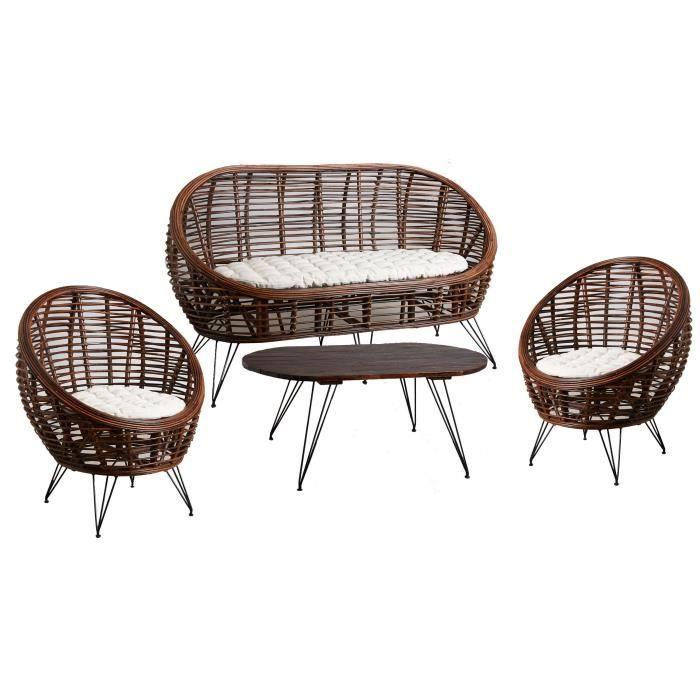 Salon 4 pièces en rotin croco, comprenant:2 fauteuils avec coussins1 canapé 2 places avec coussins1 table