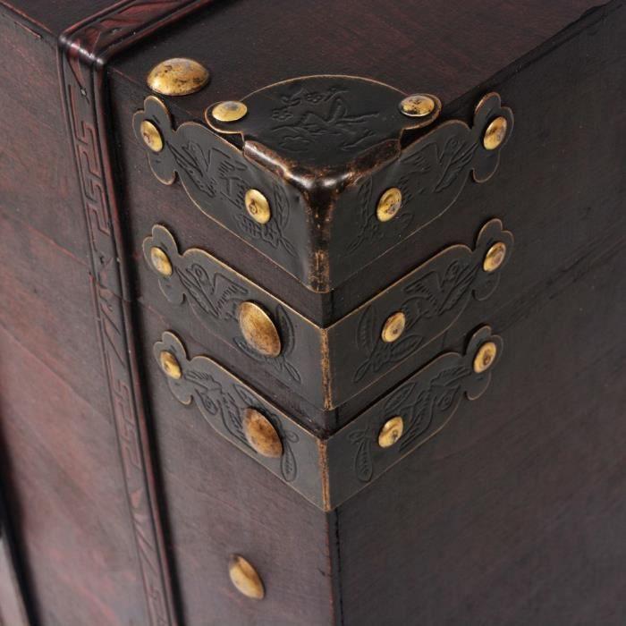 MMF® Malle de rangement - Coffre de rangement Coffre D'extérieur Coffre de jardin vintage Bois 66 x 38 x 40 cm #304062