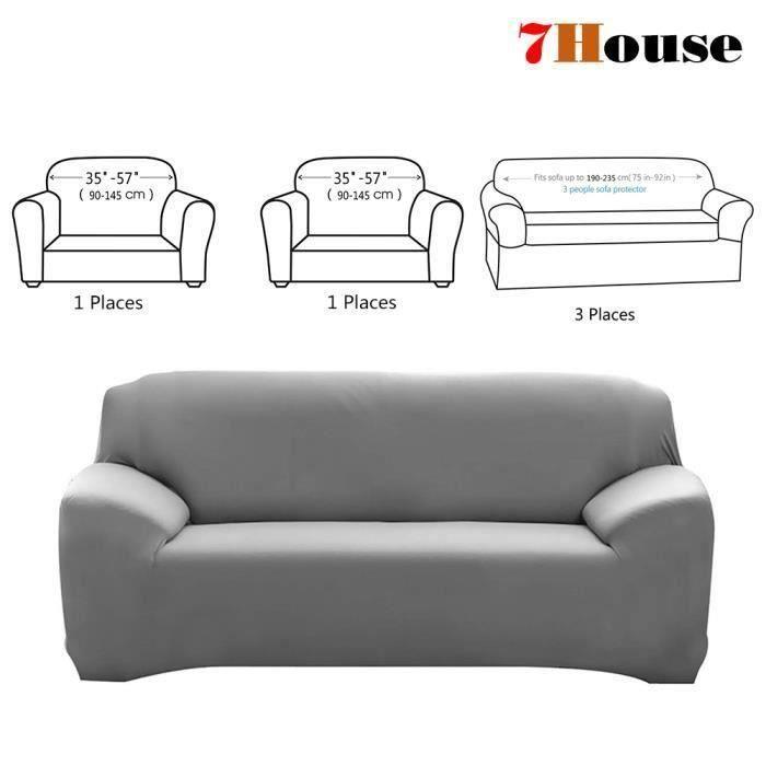 7House® 3 Pièces Housse de Canapé Extensible, revêtement de fauteuil Salon Décor 3Places + 1Place + 1Place, Gris