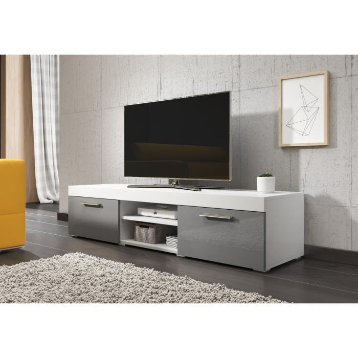 e-Com Meuble TV Paris - 140 cm - Mat Blanc et Gris Brillant