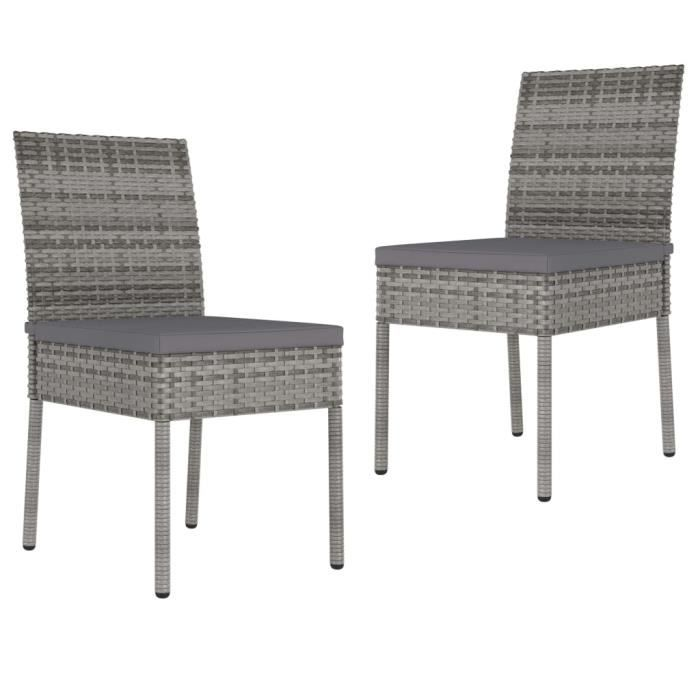 Chaises de salle à manger de jardin 2 pcs Résine tressée Gris A315108 -ROE