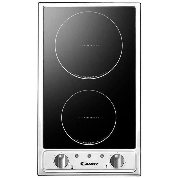 CANDY CTV200 Plaque de cuisson Domino Vitrocéramique - 2 zones - 2900W - L29 x P51cm - Revêtement verre - Noir