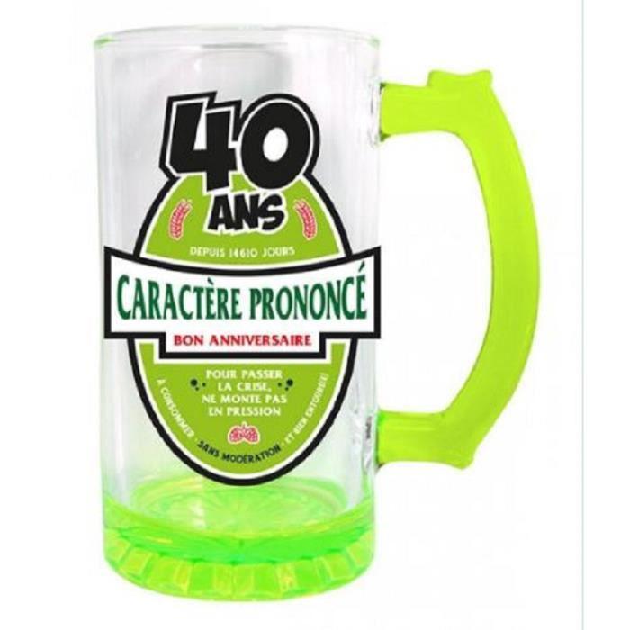 Chope À Bière Multicouleurs 40 Ans