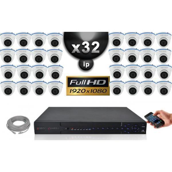 Kit Vidéo Surveillance PRO IP : 32x Caméras Dômes IR 20M Capteur SONY 1080P + En