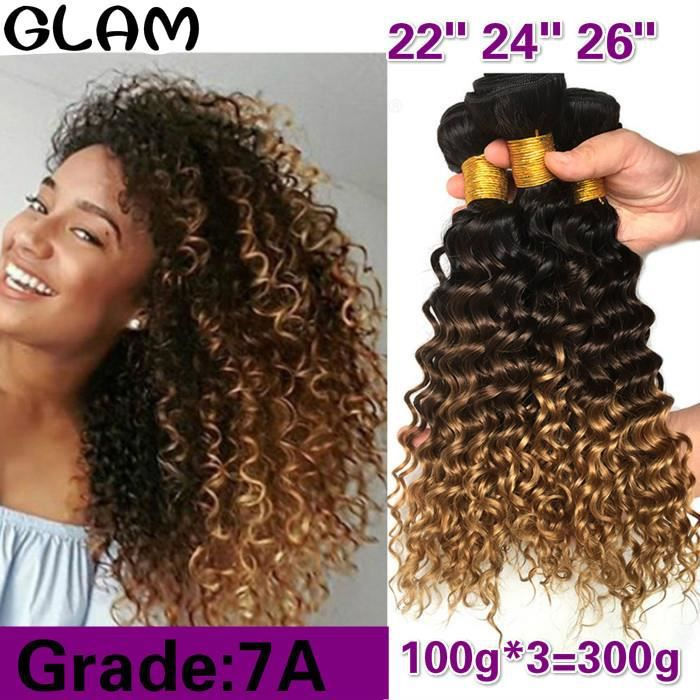 22- 24- 26-Ombre Deep Wave Cheveux Brésiliens Armure Faisceaux T1B-4-27 de Cheveux 100g-p