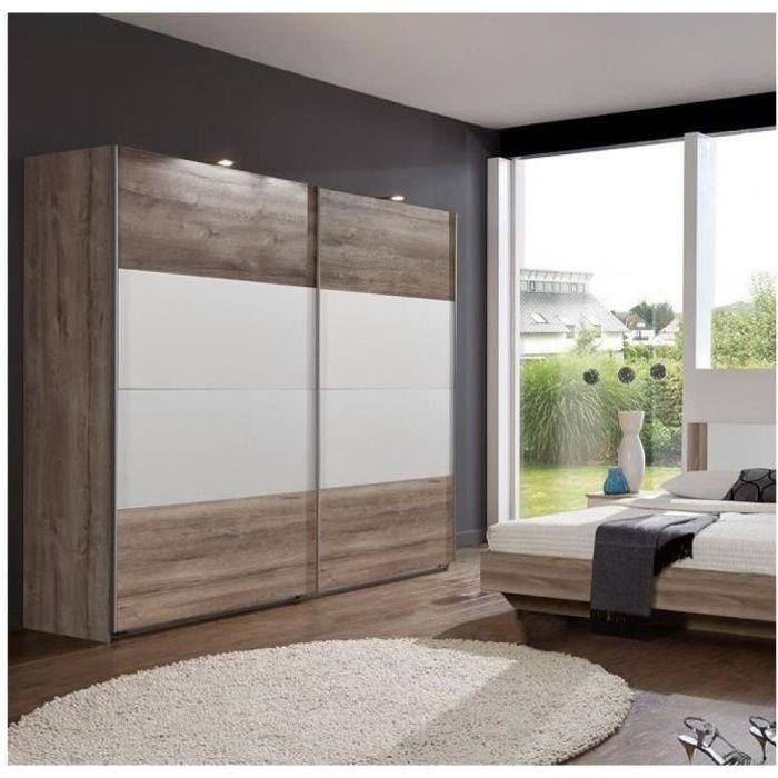 Armoire EVA portes coulissantes largeur 180 chêne châtaigne / blanc vintage Bois Inside75