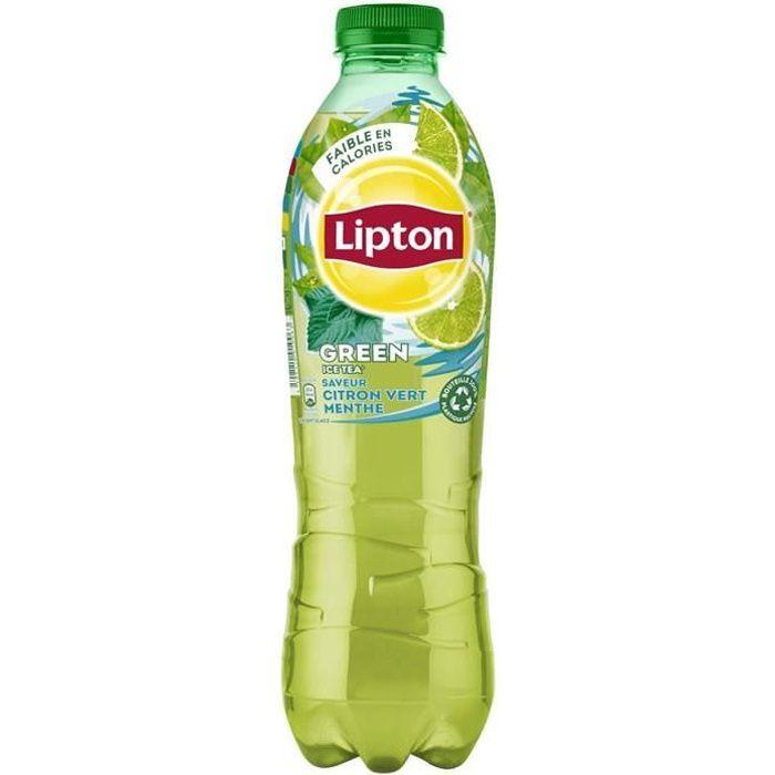 LOT DE 5 - LIPTON Green Ice tea - Thé glacé aromatisé citron vert et menthe 1 L