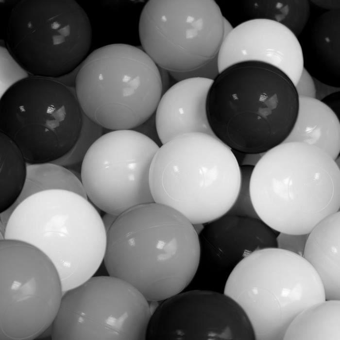 Sac de 100 balles de jeu ou de piscine diamètre 5,5 cm indéformables + Filet de rangement - Noir, gris et blanc