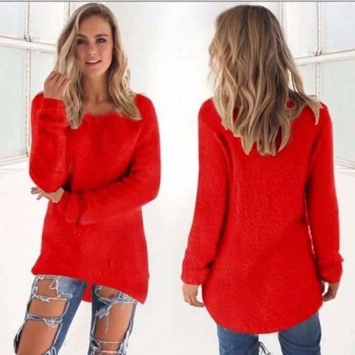 Femmes Chandail Pull Nouvelle Mode Automne Hiver Femmes Col Rond Pull Femme Hedging Lâche Pull Casual Solide Couleur Chandails