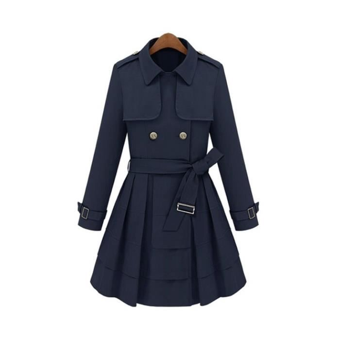 Trench-coat coupe patineuse bleu M
