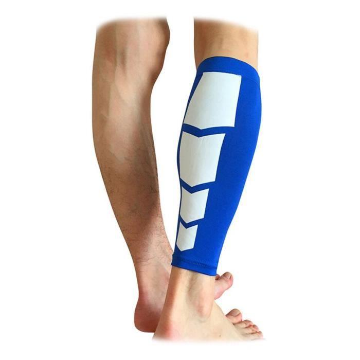 PROTEGE-CHEVILLES - CHEVILLERE,1 pièces jambières élastiques Compression mollet genou manches genouillère jambe - Type Blue-L
