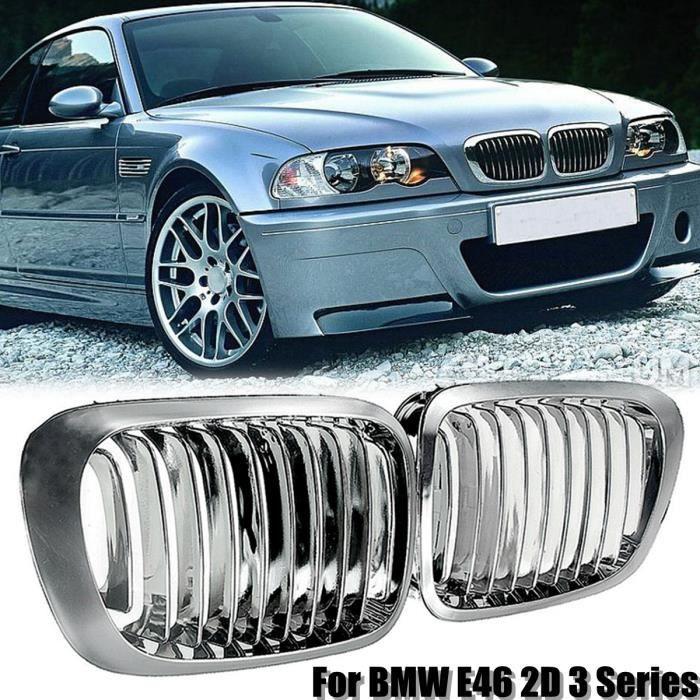NEUFU 2x Grilles Avant Calandre Chrome Pr BMW E46 Serie 3 2 Portes 1999-2006 Argent