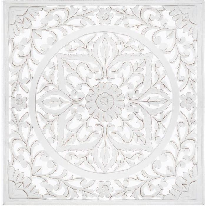 Décoration murale carrée sculptée, blanc - 90 x 90 cm