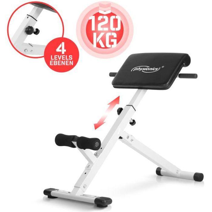 Physionics® Banc de Musculation pour Dos - Réglable en Hauteur, 45°, Charge Max. 120 kg - Appareil Hyper Extension, pour Abdominaux