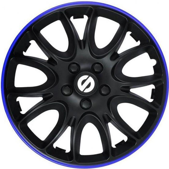 Sparco enjoliveurs Veneto 14 pouces ABS noir / bleu lot de 4