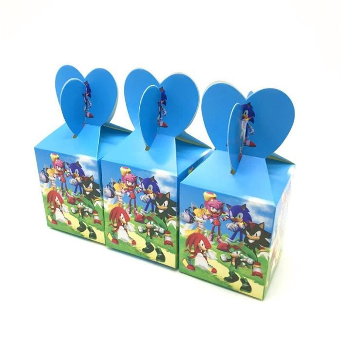 Sonic-12pcs-8.5x8.5x18 cm -Boîtes à bonbons en papier à thème de la reine des neiges,décoration de fête d'anniversaire pour filles,