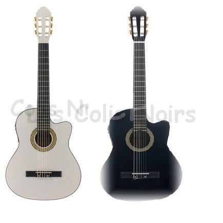 guitare lectro acoustique harley benton blanche pas cher. Black Bedroom Furniture Sets. Home Design Ideas