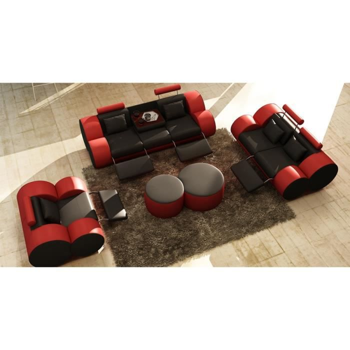 Ensemble canap design 3 2 1 place en cuir noir et rouge for Canape 3 place plus 2 place