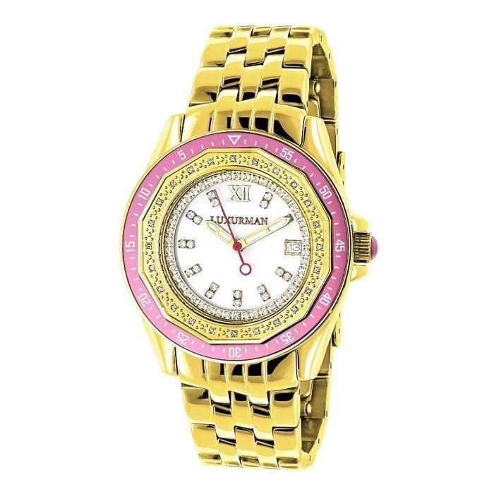 Avec DiamantsOr Montre Jaune 25ct Femme Craze Luxurman 0 lc5uT1KJ3F