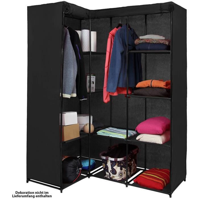armoire d angle penderie dressing en textile non tiss 129 x 87 x 169 cm noir achat vente. Black Bedroom Furniture Sets. Home Design Ideas