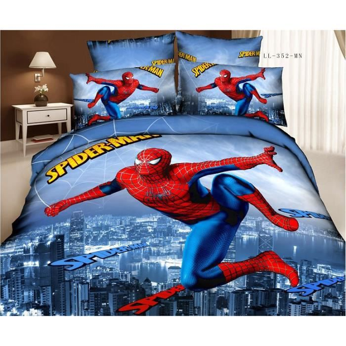 parure de couette spider man coton 200 230 cm 3d effet 4 piece achat vente housse de couette. Black Bedroom Furniture Sets. Home Design Ideas