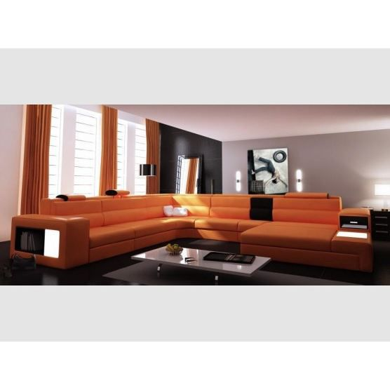Canap d 39 angle trevise cuir achat vente canap sofa divan cuir b - Canape d angle 9 places ...