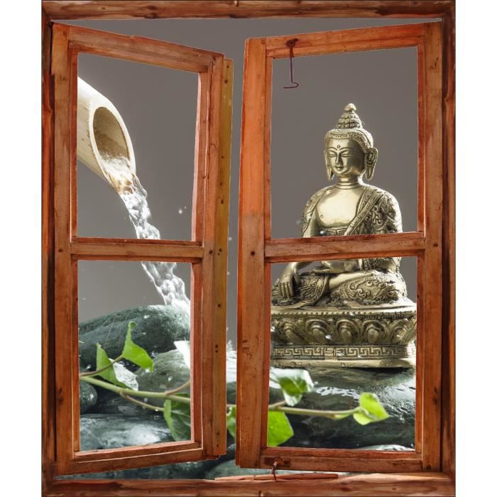 Sticker mural fen tre trompe l oeil d co bouddha for Trompe l oeil interieur