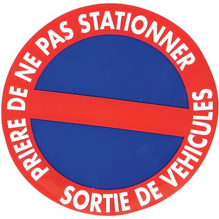 Panneau Cour Priv/ée Stationnement Interdit sauf R/ésidents Double Face Autocollant au Dos Plastique Rigide PVC 1,5 mm Protection Anti-UV Diam/ètre 350 mm