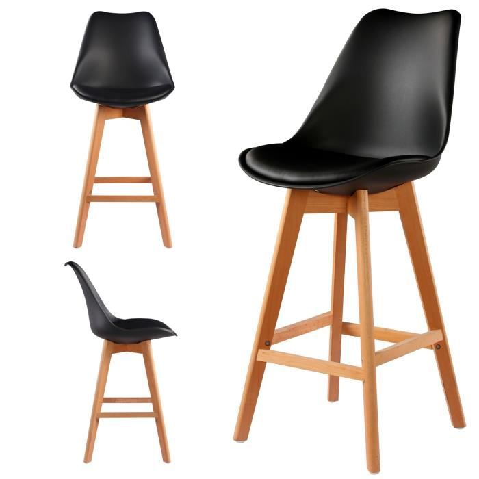 Lot de 2 chaises hautes - tabourets bar design scandinave coloris ... c046196ea118
