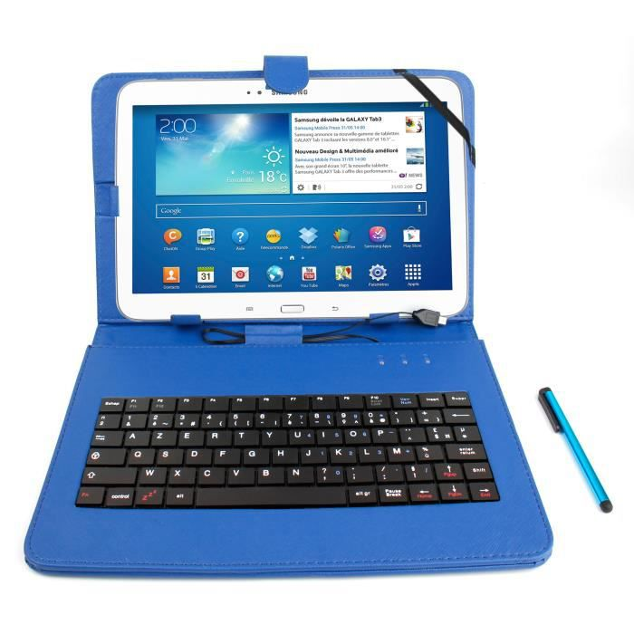 etui clavier bleu pour samsung galaxy tab 3 p5200 prix pas cher cdiscount. Black Bedroom Furniture Sets. Home Design Ideas