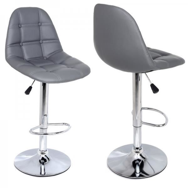 tabouret de bar gris lot de 2 sunny achat vente tabouret de bar cdiscount. Black Bedroom Furniture Sets. Home Design Ideas
