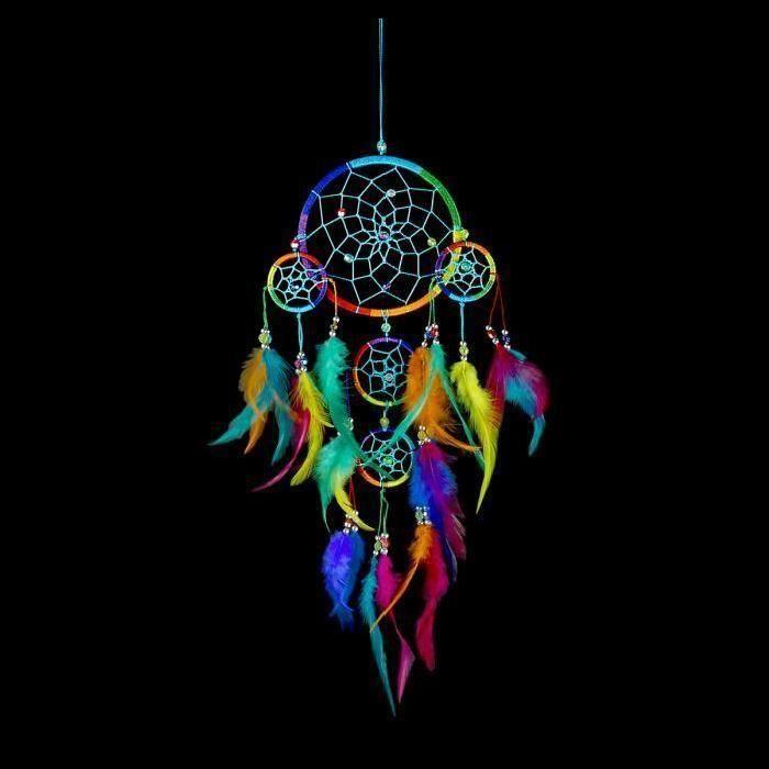 Attrape-rêve, Dreamcatcher, Capteur de rêve multicolore à plumes naturelles  teintées - Cdiscount Maison