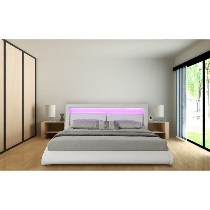 STRUCTURE DE LIT Cadre de lit ORLEAN en PU Blanc 160 x 200 cm avec